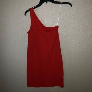 NWT one shoulder red/orange dress